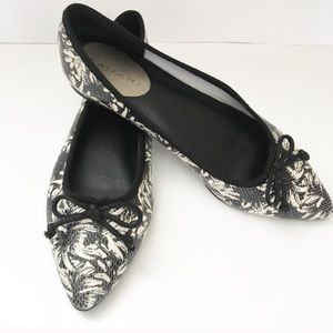 Tahari Blossom Flats Tie Pointed Toe Floral Shoes